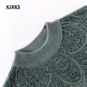 Image 4 - XJXKS 2019 new winter thick warm warm cashmere sweater women pullover loose plus size fashion diamond printed women tops