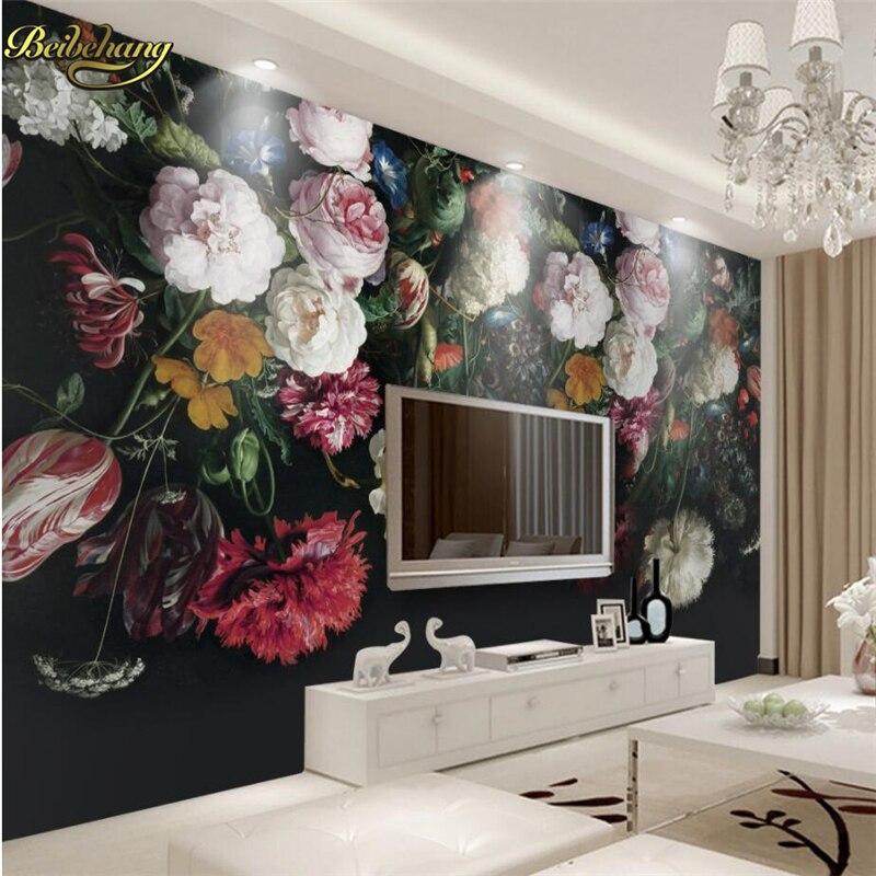 Beibehang Retro Handsome Flower Custom 3D Mural Wall Paper Mural Photo Wallpaper For Wall Paper For Living Room TV Sofa Backdrop