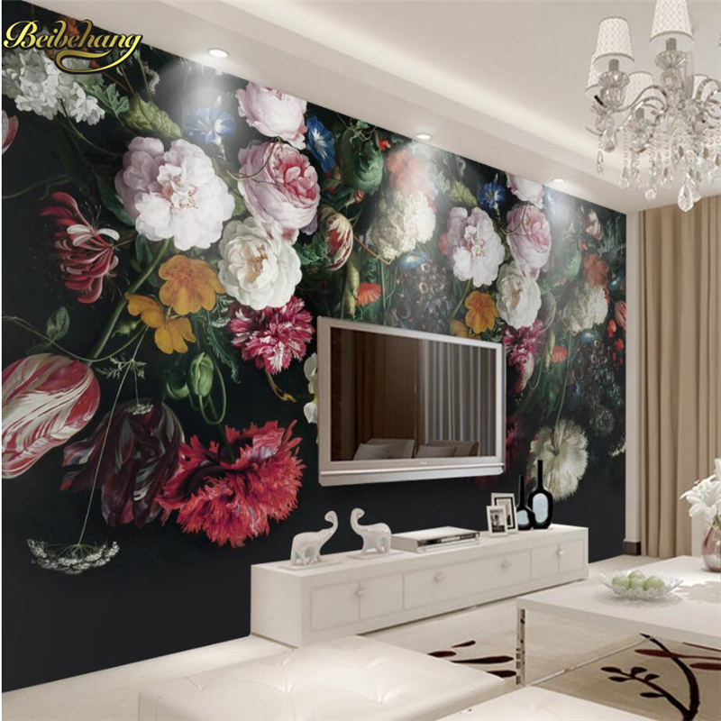 beibehang Retro handsome flowers Custom 3D Wall paper Mural Photo Wallpaper for Wall Contact Paper Living Room TV Sofa Backdrop