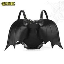 Las mujeres mochila ala de murciélago mochila Punk elegante nuevo bolso de escuela para niñas murciélago de alas de Ángel mochila lindo pequeño Diablo paquete