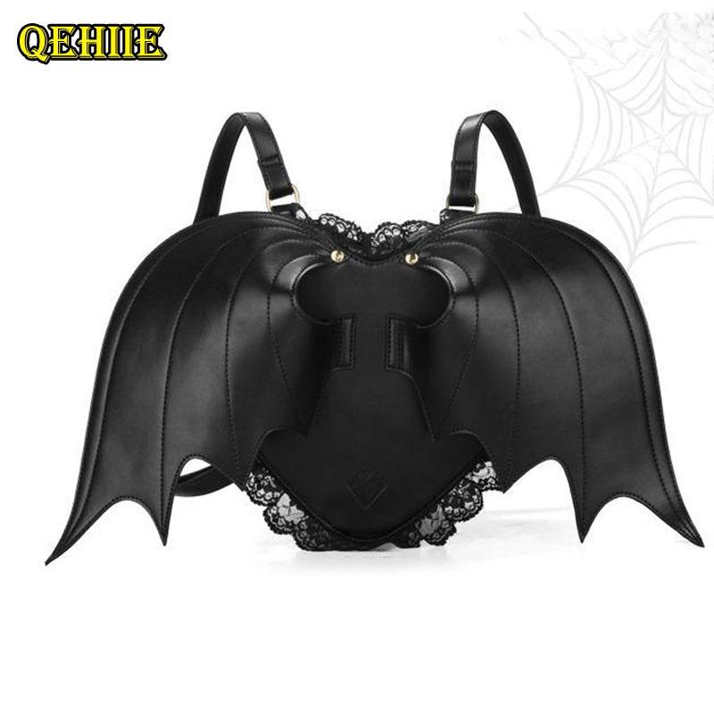 Women Backpack Bat Wing Backpack Punk Stylish Newest School Bag For Girls Bat Bag Angel Wings Backpack Cute Little Devil Package #1