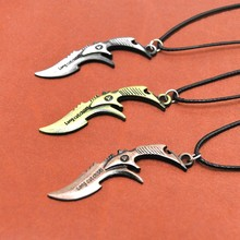 цена на Original New Counter Strike Men's Saber Pendant Necklace Vintage Gold Rope Chain CS GO Sabre Choker Necklace Men Jewelry Gift