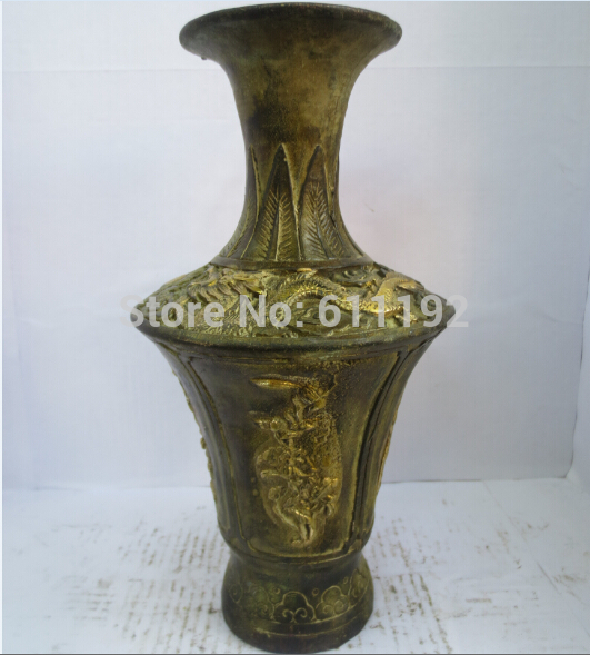 Modern FengShui Home decoration hand carved Bronze Gilt Flower Vases Antique Vase Metal crafts|vase design|craft prices|craft employment - title=