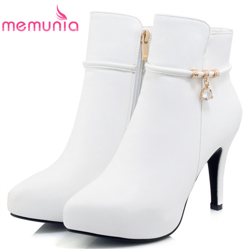 MEMUNIA Large size 34-41 ankle boots for women sexy lady PU soft leather thin heels shoes woman fashion boots female zip large size 34 40 2016 fall women ankle boots cowhide soft leather flower genuine leather women short boots flat with shoes lady