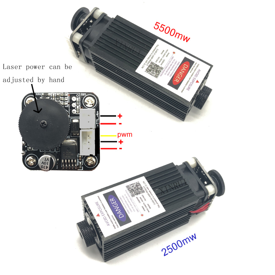 2500/5500 mw laser module, 2.5 w/5.5 w 450nm diy laser machine pièces laser diode laser tube avec de refroidissement ventilateur pwm contrôle ttl