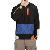 2018 New Sping Jackets Men Patchwork Anorak Jacket Fashion Hip Hop Plus Size College Student Windbreaker Coat 5XL