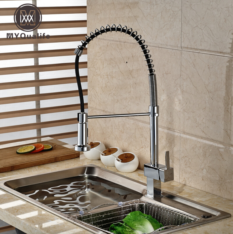 Single Handle Brass Rotation Kitchen Mixer Deck Mount Double Sprayer Nozzle Kitchen Faucet Taps Chrome Finish swivel spout deck mount kitchen spring mixer faucet single handle dual sprayer nozzle water taps chrome finish