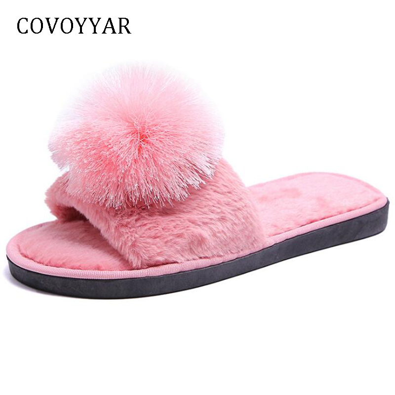 Fur Pom Pom Peep Toe Flat Sandals  Womens Size