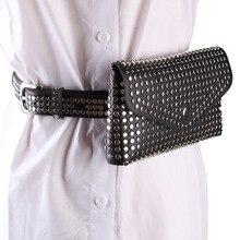 цены HUOBAO Fashion Rivets Waist Pack Luxury Designer Fanny Pack Small Women Waist Bag Phone Pouch Punk Belt Bag Purse
