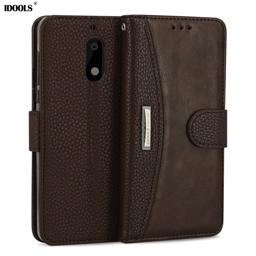 IDOOLS for Nokia 6 Case Luxury PU Leather Brand Dirt Resistant Wallet Cover Phone Bags Cases for Nokia 6 TA-1000 TA1003 5.5 Inch