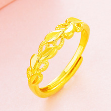 CHENFAN womens adjustable rings for women Sand gold hollowed out four love Open ring dainty ring finger plating 24k gold ring alloy plating gold rhinestone finger ring golden