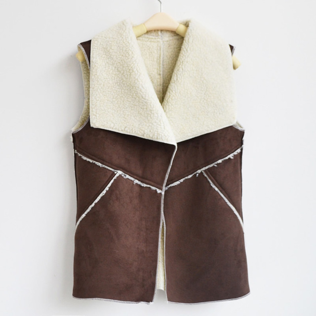 Women Suede Leather Faux Fur Vest Jacket Fashion Autumn Winter Lady Sleeveless Open Front Fleece Herringbone Wasitcoat Outerwear