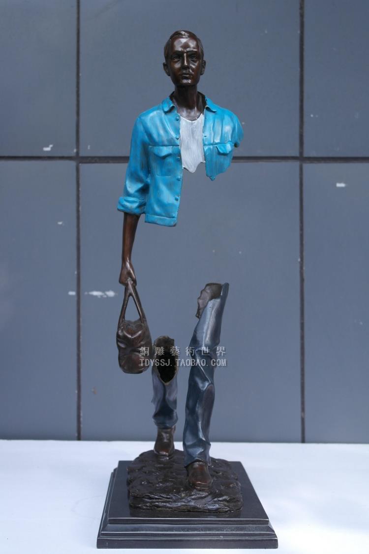 Mati Abstrak patung modern Eropa kuningan patung art traveler mode - Dekorasi rumah - Foto 4