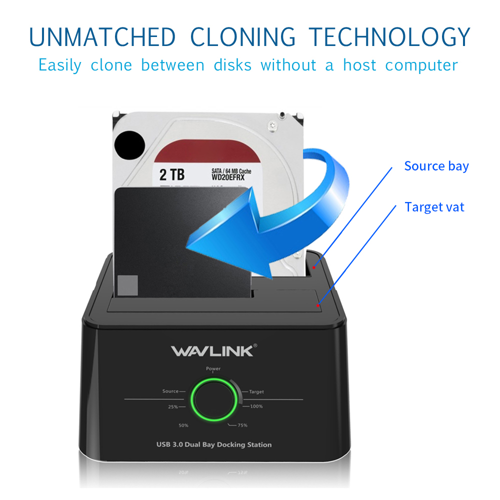 Wavlink WL-ST334U USB3.0 to SATA 2 Bay Hard Drive Docking Station 5Gbps for 2.5/3.5 HDD/SSD Offline Clone and One Button Backup dual bay hdd docking station clone function sata 2 hd case 3 5 2 5 inch usb 3 0 5 gbps 4tb hard disk box hdd ssd reading device