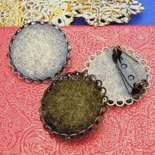 Античный бронзовый тон покрытием металлическая основа для броши основы двойной Круглый кружевной ободок кабошон Броши заготовки для шпилек фурнитура оптом