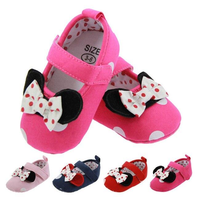 9ff1d62bc Bebê recém-nascido Meninas Calçados Infantil Criança Primeira Walkers  Bonito Dos Desenhos Animados Polka Dot