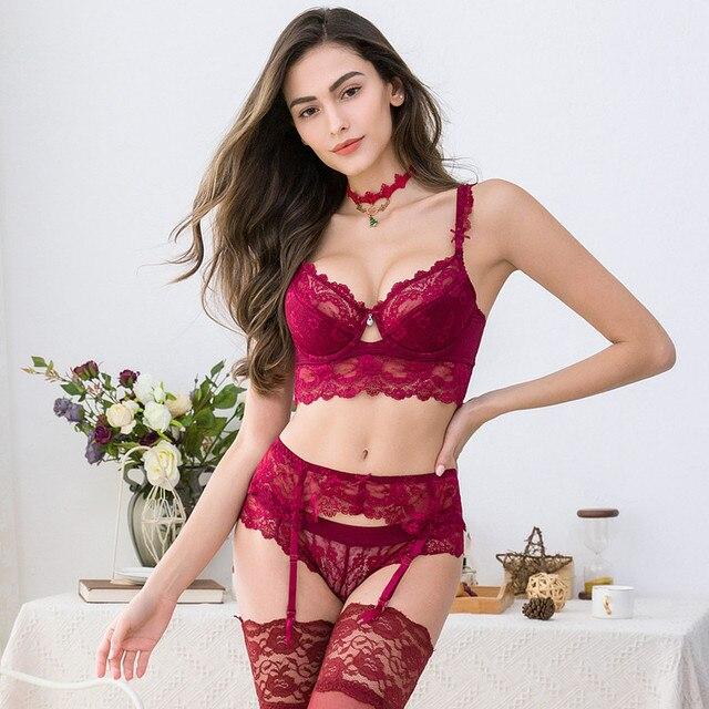 Sexy lace push up bra sets bra+panties+garter+stockings+necklace Christmas 5 Pcs/Lots 3