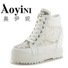Weiß Strass Keile Plattform Schuhe Hochwertigen Plattform Einzelnen Schuhe Höhe Zunehmende 10 cm Sterne Schuhe Frauen Casual Schuhe