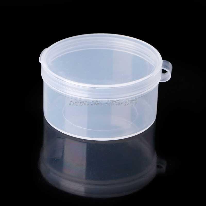 Пластиковые круглые, прозрачные, пластиковые контейнеры, ювелирные изделия, бусины, коробка для хранения колец, серьги, кейс, ожерелье, органайзер, женская коробка для макияжа