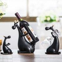 Современный Творческий смолы красное вино бутылки стойки Lucky олень наборы для ухода за кожей домашний Декор статуэтки и миниатюры СВАД