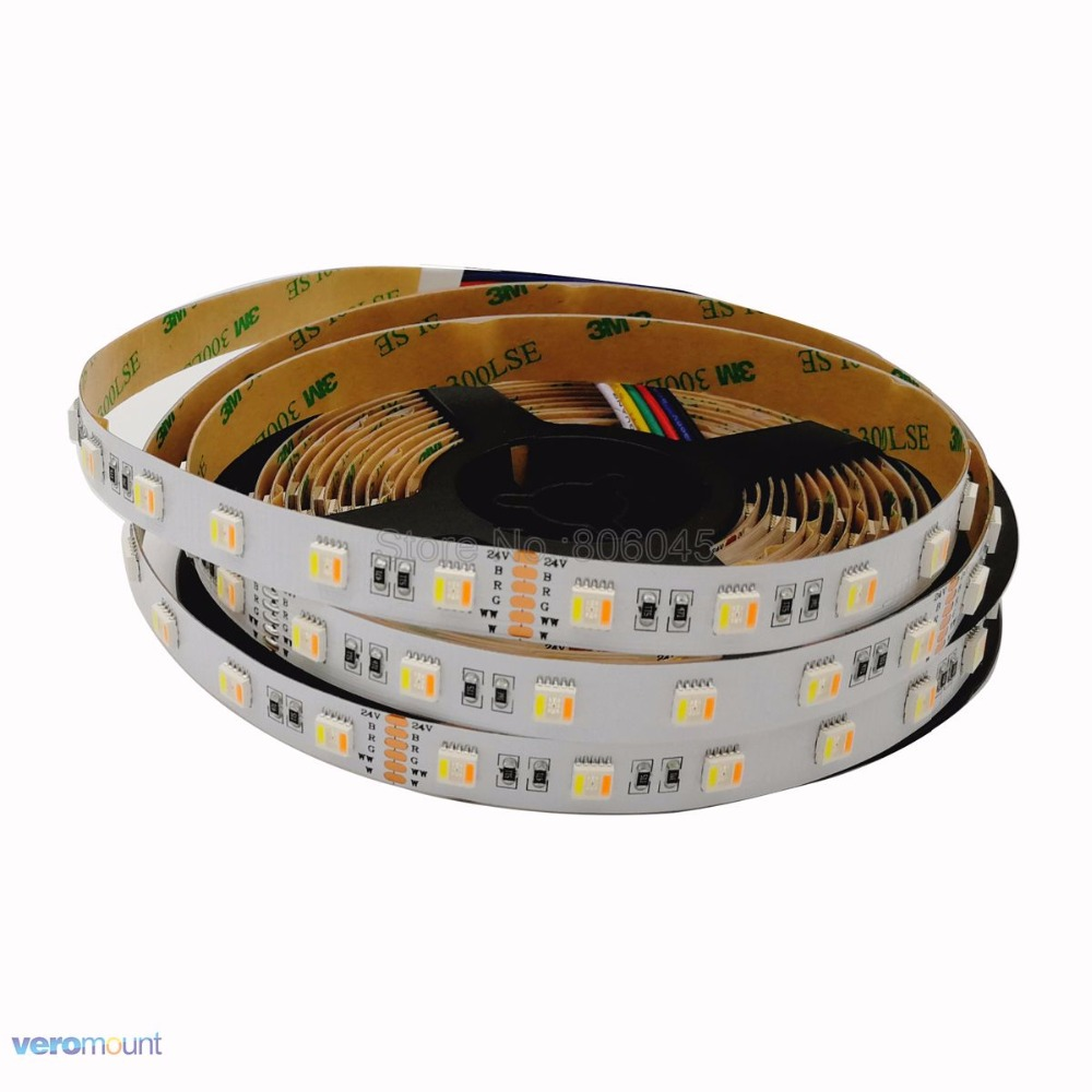 5m/lot DC 12V or <font><b>24V</b></font> 5050 RGB+CCT <font><b>LED</b></font> Strip 60led/m 5 Color in 1 Chip CW+RGB+WW Color Ribbon IP20 Non-Waterproof Flexible <font><b>Stripe</b></font> image