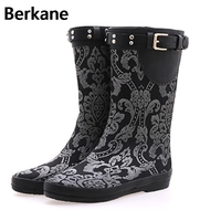 2016 Fashion Classic Tall Lady Waterproof Rubber Boots Shipping Cloth Printing