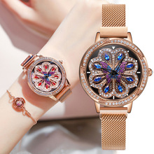 2019 new fashion luxury women's watch to run the peacock wheel Japanese movement copper case steel mesh belt