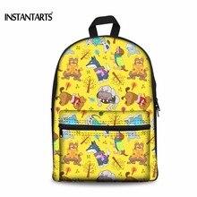 Instantarts Забавный мультфильм Рюкзаки для подростков Обувь для девочек Обувь для мальчиков Дети Холст Рюкзаки Повседневное детские книги сумка Mochilas