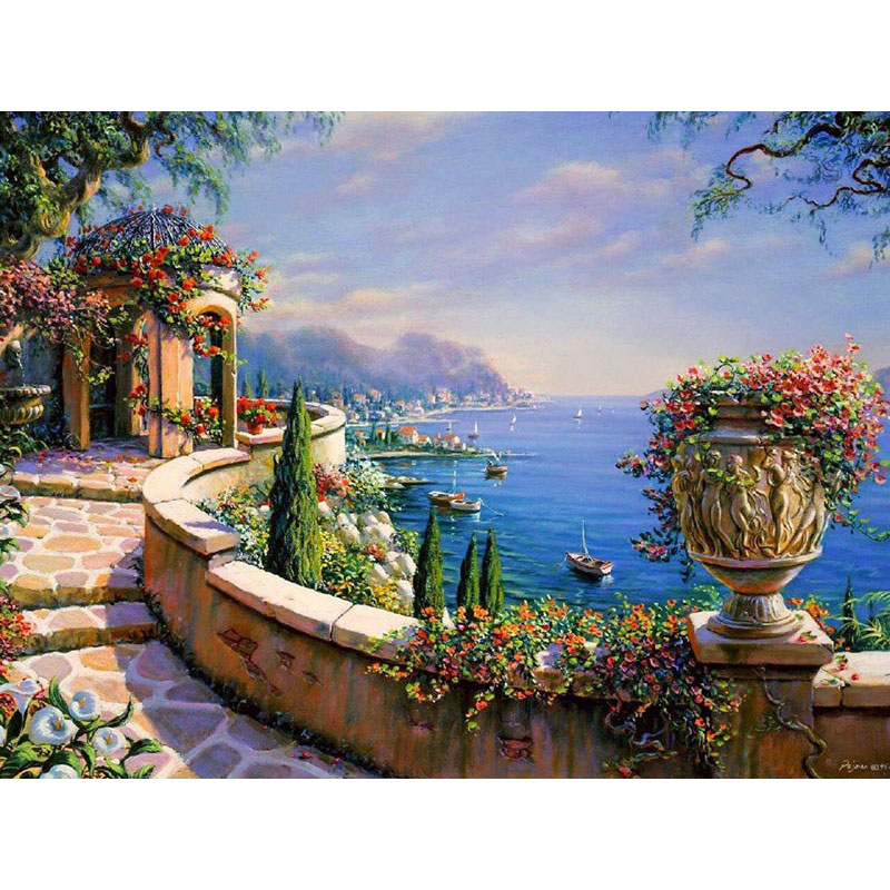 Waterfront Garden Hand Made Paint High Quality Canvas Beautiful Painting By Numbers Surprise Gift Great Accomplishment image
