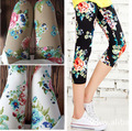 Women Leggings 2016 Summer Geometric Print Seven Points Mallas Mujer Leggins Milk Silk Elastic Tie-dye Capri Pants