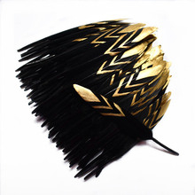 20pcs/lot black and gold Duck Feathers crafts 10-15CM natural  Goose Feather for jewelry making DIY Home plumas Party decoration