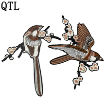 1PCS flower embroidered patches for clothing iron on birds applique embroidery stickers DIY