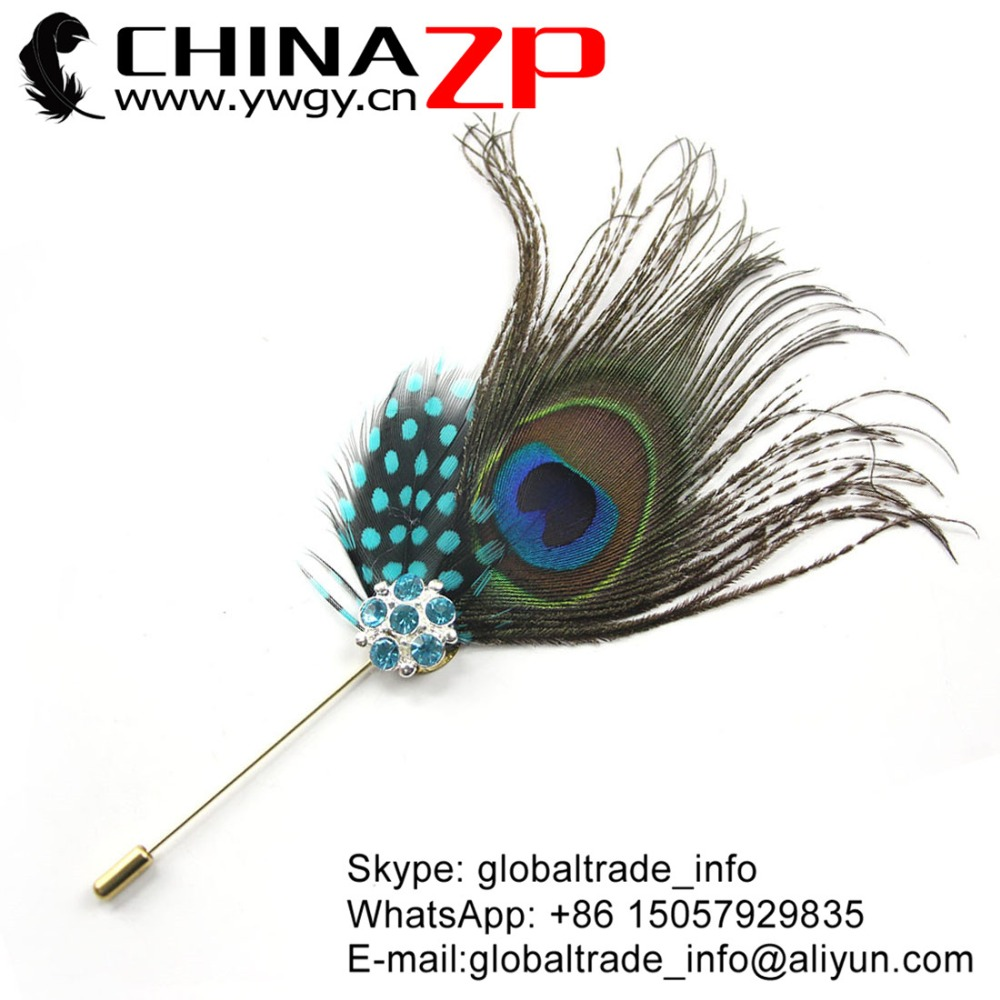 CHINAZP Factory Top Quality Handmade Peacock Feather Hair Pin Accessory with Light Blue Guinea Feather Brooch