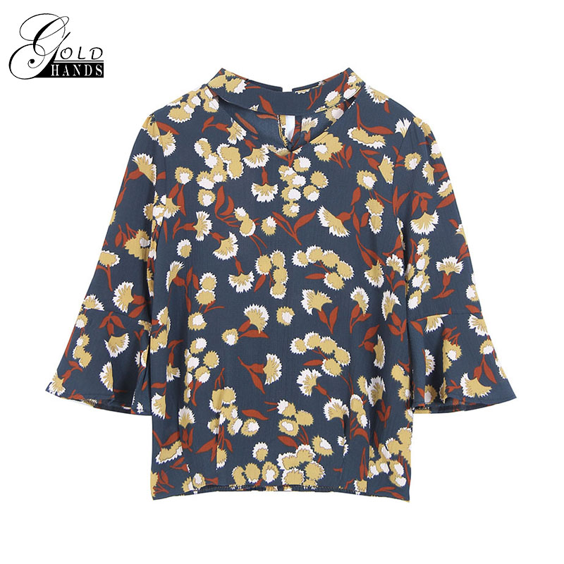 Gold Hands Retro Print Floral Sleeve Slim Short Round Neck Sleeve Sleeve Wild Womens T-shirt Polyester Fabric Breathable 3XL