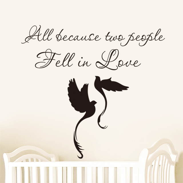 All because two people fell in love birds vinyl lettering quotes for all because two people fell in love birds vinyl lettering quotes for wedding decoration bedroom wall junglespirit Gallery