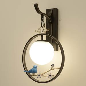 Wall-Light Bra-Lamp Flower Wall-Sconce Iron Bedside Vintage Creative Hotel Bird Study