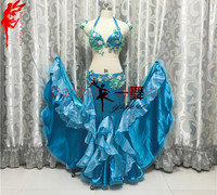 Belly dance clothes for gilrs India flowers sets bra top and long skirt 2pcs salsa dance clothing suit B/C cup latin dance set