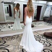 vestido de formatura longo Mermaid Party Evening Gowns 2018 Beaded Spaghetti Straps Backless Long White Chiffon Prom Dress