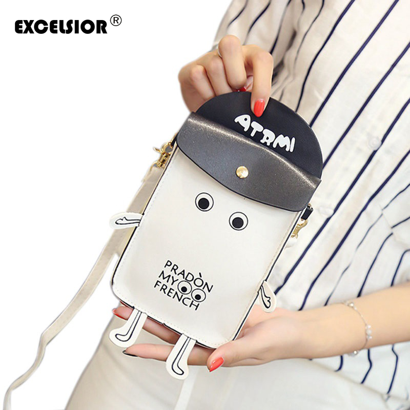 EXCELSIOR New Cute Cartoon Women Robot Shape Small Handbag Mini Crossbody Shoulder Phone Bag Ladies Purses Girls Chain Clutch
