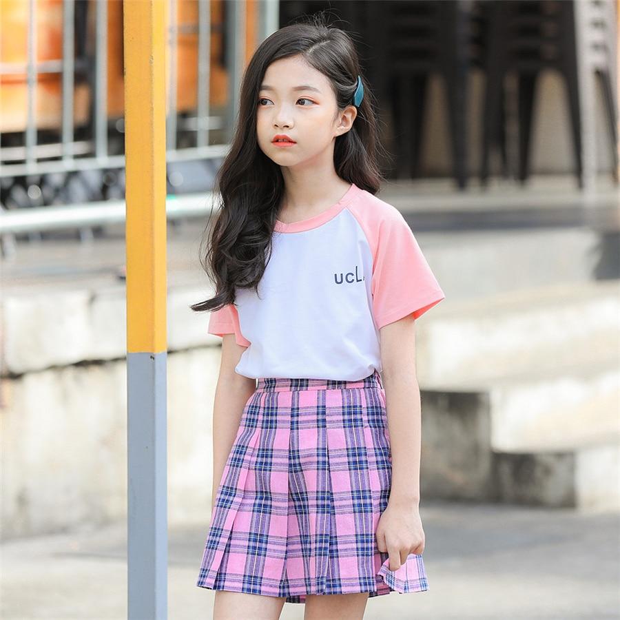 US Toddler Baby Girls Popular Plaid Cotton And Linen Ruffles Dress Clothes Skirt