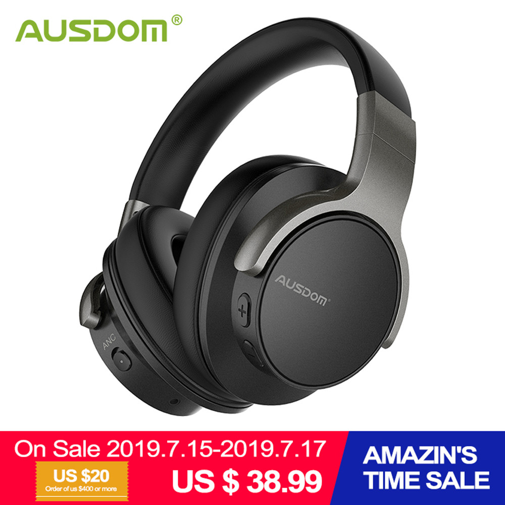 Ausdom ANC8 Active Noise Cancelling Wireless Headphones Bluetooth Headset with Super HiFi Deep Bass 20H Playtime for Travel Work كاتم العقيلات