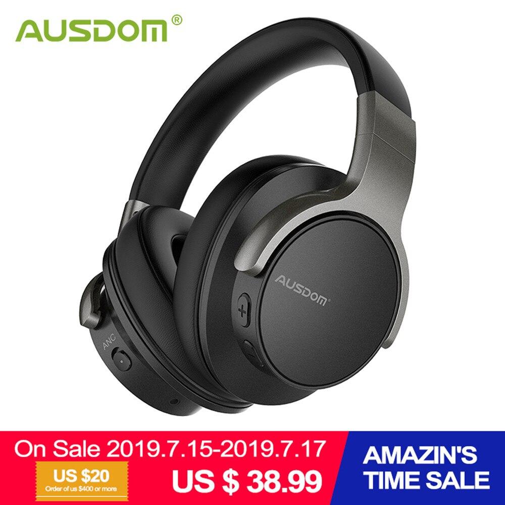 Ausdom ANC8 Aktif Noise Cancelling Headphone Nirkabel Bluetooth Headset dengan Super Hi Fi Bass 20H Waktu Bermain untuk Perjalanan Kerja