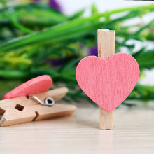 10pcs Pack Mini Heart Love Wooden Clothes Photo Paper Peg Pin Clothespin Craft Postcard Clips Home