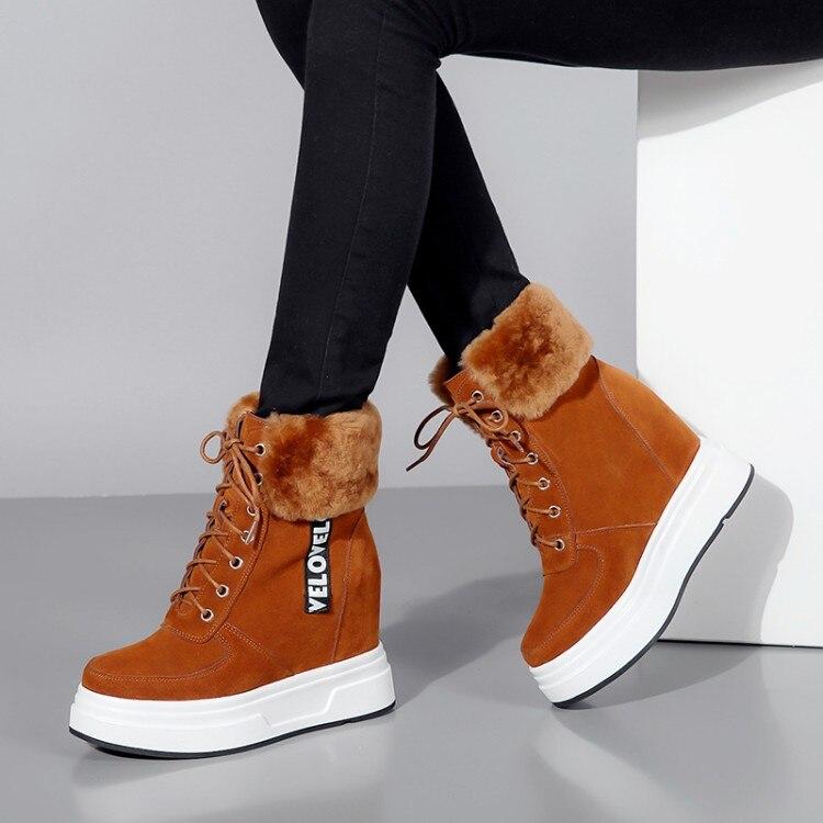 Women Snow Boots Warm Short Fur Plush Winter Ankle Boot Plus Size Platform Ladies Suede Shoes Female Comfort Wedges shoes