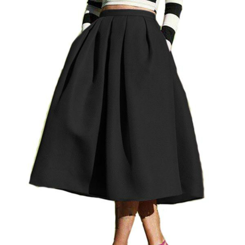 New Female Fashion Street Style Women 'S Skirt Solid Casual Flare High Waist Pleated Pockets Vintage Skirts