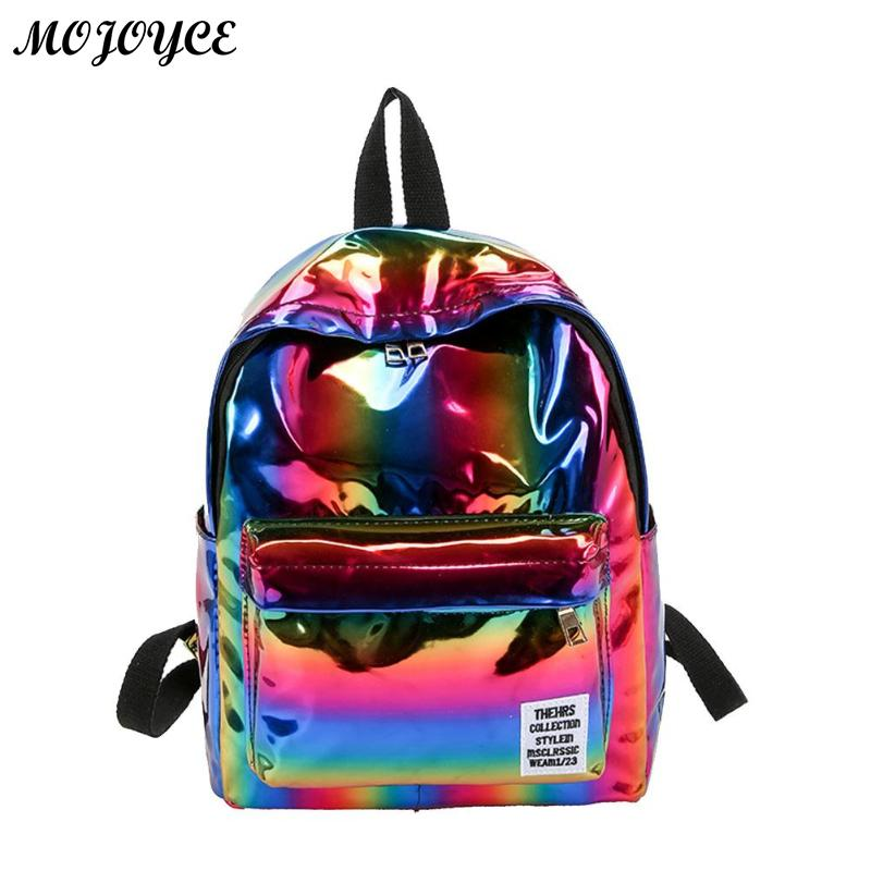 2018 Fashion Women Backpack Hologram Laser PVC Travel Backpacks Female Casual Simple Mochila Girls Shoulder School Bags Rucksack