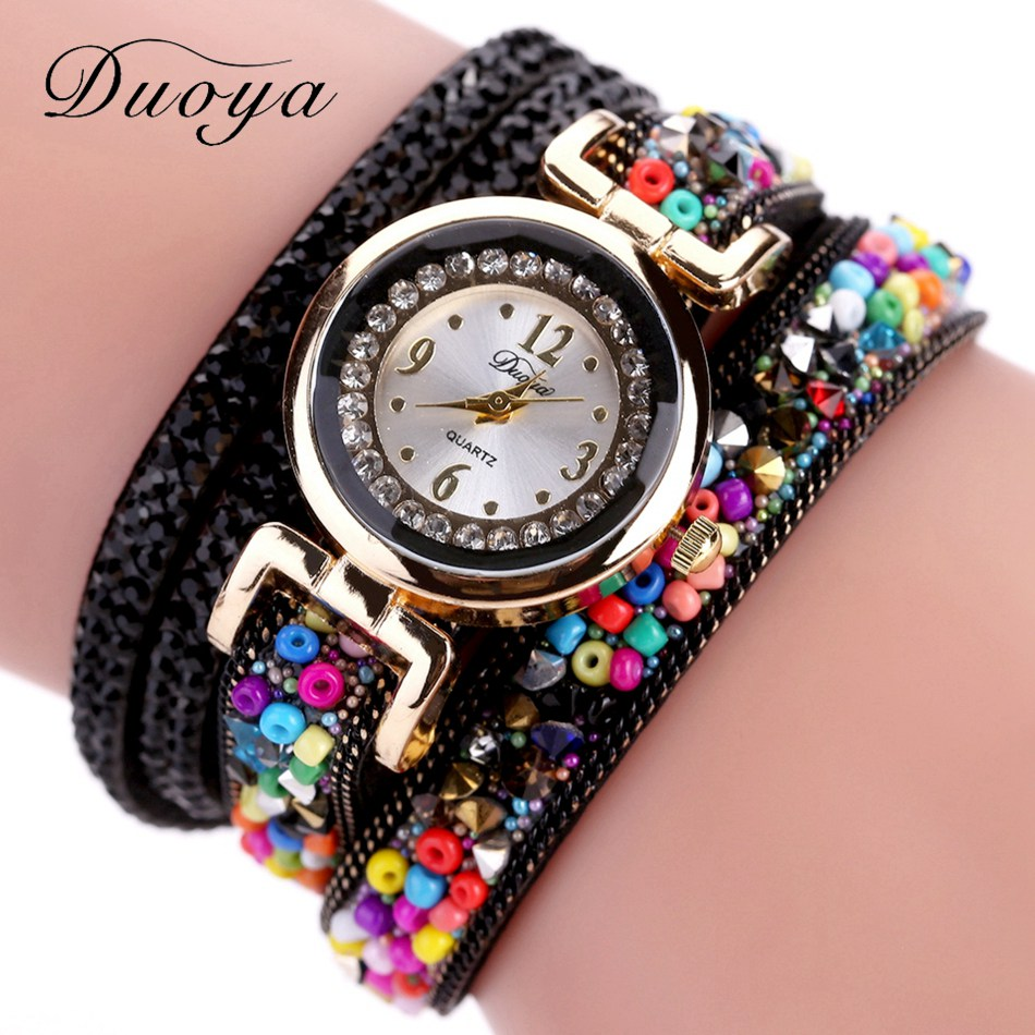 Duoya Luxury Rhinestone Watch Women Fashion Casual Fabric Strap Gold Dress Quartz Vintage Ladies Bracelet Wrist Watch Clock New weiqin luxury gold wrist watch for women rhinestone crystal fashion ladies analog quartz watch reloj mujer clock female relogios