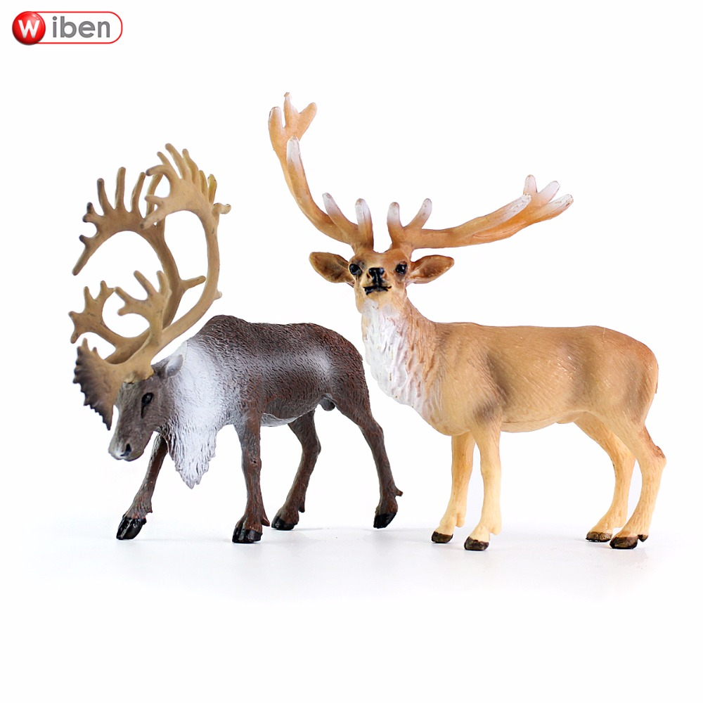Wiben Caribou Red Deer Plastic Simulation Animal Model Action & Toy Figures Toys for Children Giftt High Quality Collection easyway sea life gray shark great white shark simulation animal model action figures toys educational collection gift for kids