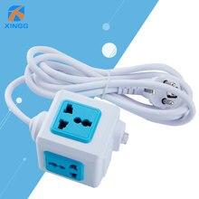 La UE ruso de red de enchufe filtro Cubo de tira con el interruptor de 4 puntos de venta Universal 2 USB 1,8 M cable de extensión 2500W adaptador de corriente