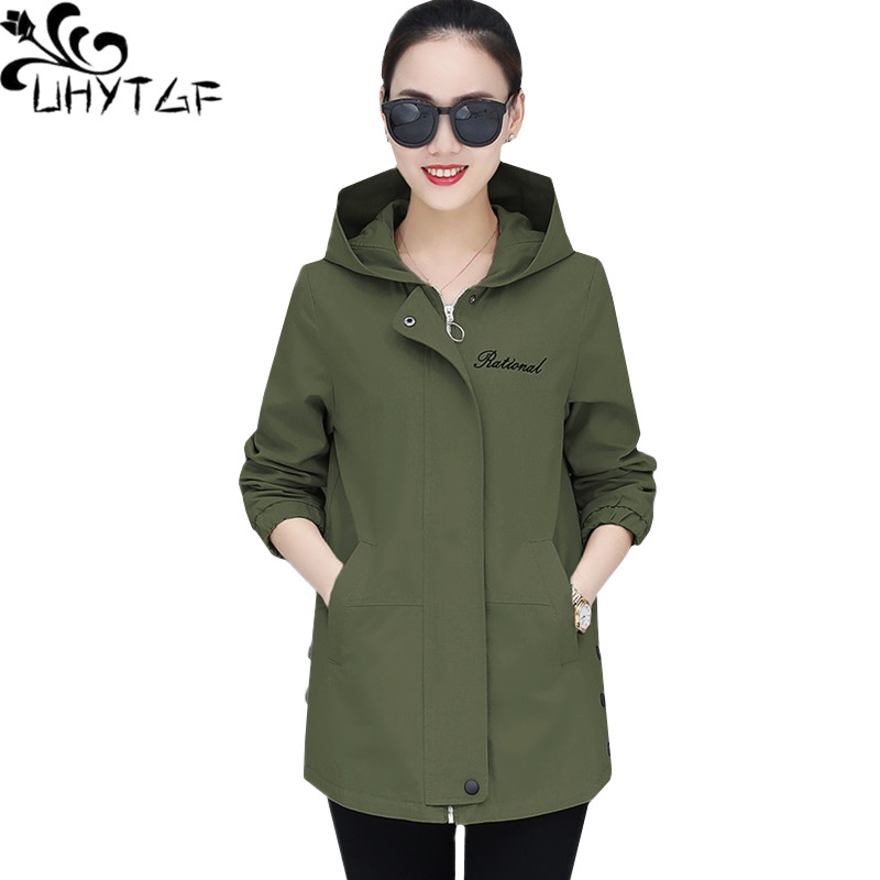 UHYTGF especially female   trench   coat New fashion hooded spring top outerwear Casual student loose plus size Windbreaker coat1489